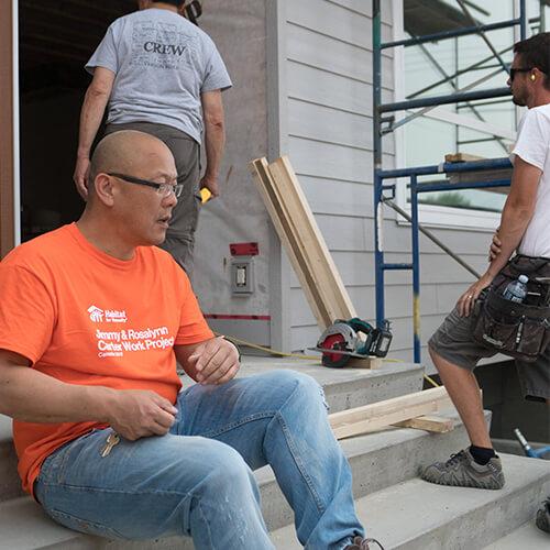 Volunteers on the jobsite